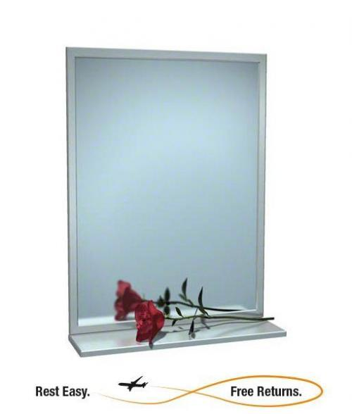 ASI 0605-1836 Stainless Steel Angle Frame Mirror w/Shelf 18 x 36