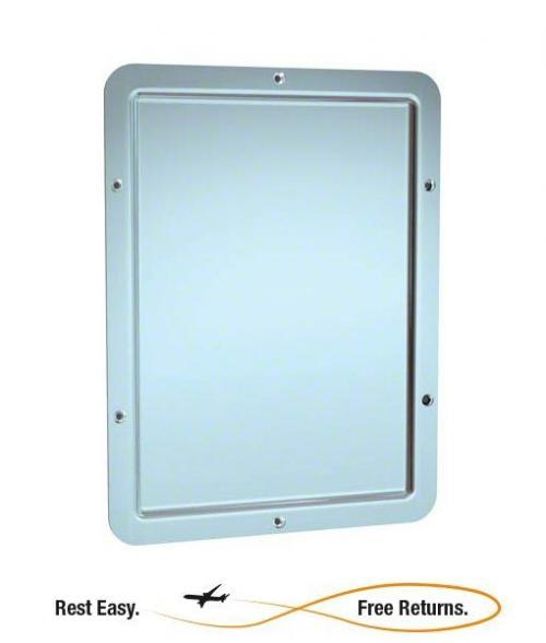 "American Specialties 107 Front Mounted One Piece Framed Mirror w/Rounded Corners 12"" x 16"""